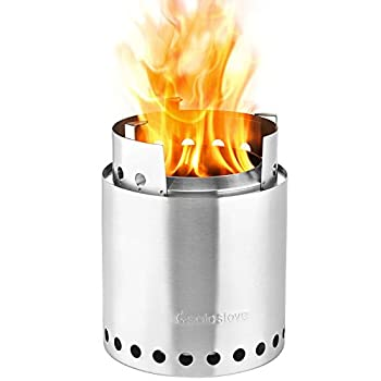 Image of Fire Starters Solo Stove Campfire - 4+ Person Compact Wood Burning Camp Stove for Backpacking, Camping, Survival. Burns Twigs - NO Batteries or Liquid Fuel Gas Canister Required.