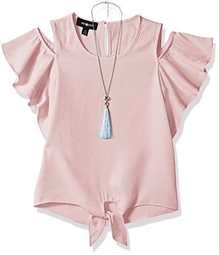 Amy Byer Girls' Big Flutter Sleeve Cold Shoulder Top with Necklace, Boho Rose, X-Large