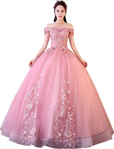 Okaybrial Women's Sweet 16 Quinceanera Dresses Blush Pink Off Shoulder Lace Long Prom Ball Gowns Size ()