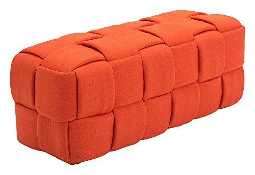 Zuo Modern 100639 Checks Bench, Orange, Large Weave Rectangular Bench, Bold Design is Lightweight, 250 lbs Weight Capacity, Dimensions 51.2
