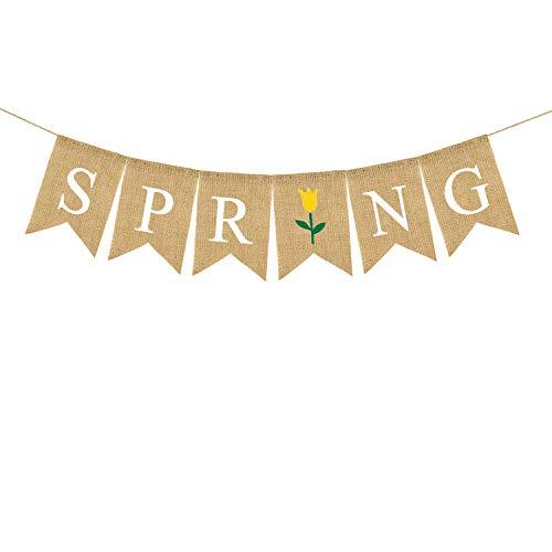 Rainlemon Jute Burlap Spring Banner with Flower Home Mantel Fireplace Decoration]()