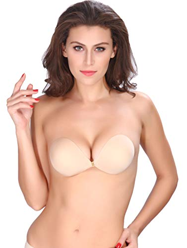 AVIGOR Women's Strapless Bra Self Adhesive Silicone Sticky Bras Reusable Invisible Backless for Women (Beige