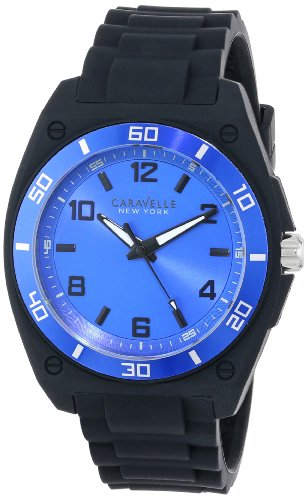 Caravelle New York Men's 45A116 Analog Display Japanese Quartz Black Watch - Caravelle Blue Watch