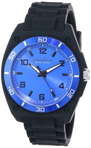 Caravelle New York Men's 45A116 Analog Display Japanese Quartz Black Watch - Caravelle Blue Watch