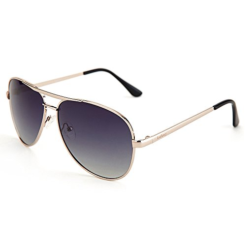 Aviator Sunglasses for Men, Polarized Gray Gradient Lens, Silver Metal Frame, UV 400 - Gradient Lens Sunglasses