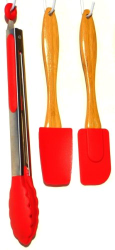 [3 Piece Red Bamboo Silicone Kitchen Tool Utensil Set with Spatula Batter Spoon and Tongs Top Best for Wife Sister in Law Grandmother] (Cute Police Costumes)