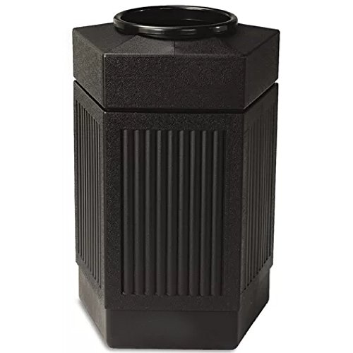 Commercial Outdoor Trash Can With Lid Waste Receptacle Durable Exterior Waste Rubbish Patio Garden Wastebasket Trash Cleaning Outside Businesses Hands Free Touch Waste Bin Black And eBook By NAKSHOP