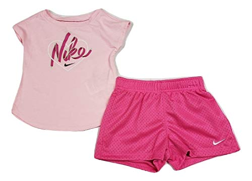 Nike Baby Girls 2-Piece Short Set Outfit, 24 Months, Laser Fuchsia (16F518-P5D)/Pink (2 Piece Baby Girl Outfit)