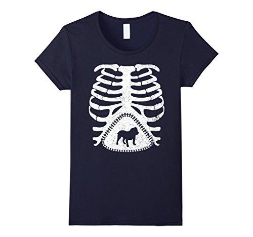Womens Maternity Skeleton Shirt, OLD ENGLISH BULLDOG Funny T-shirt Small Navy