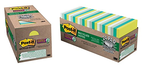 Price comparison product image Post-it Recycled Super Sticky Notes,  3 in x 3 in,  Bora Bora Collection,  24 Pads / Pack (654-24SST-CP)