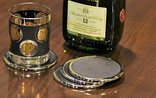 YouShop Luxury Coasters for Drinks - Premium Metal, Black Leather, Velvet Base | Contemporary & Clean Style, Modern Coaster Set for Home Decor, Living Room, Kitchen | Protect Furniture by YouShop (Image #4)
