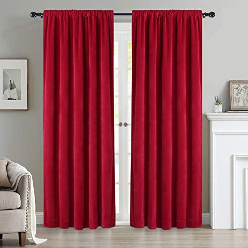 Haperlare Red Velvet Curtains 84 inches Bedroom Room Darkening Rod Pocket Curtains Luxurious Velvet Fabric Thermal Insulated Noise Absorb Window Dressing Christmas Decor