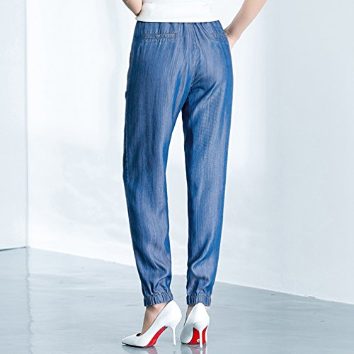 Donna Blu Anguang Largo Gamba Denim Pantaloni Elastico Vita Sciolto Jeans Coulisse Sdwp1xR