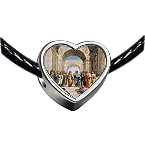 Chicforest Silver Plated Raphael's School Of Athens Photo Heart Charm Beads Fits Pandora Charms