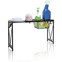 Black Metal Scrollwork Design Expandable Over-the-Sink Storage Organizer Shelf Rack w/ Pull-Out Drawer