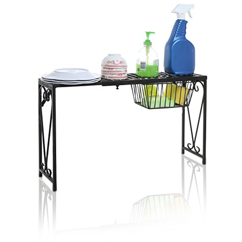 Over Sink Shelf (Black Metal Scrollwork Design Expandable Over-the-Sink Storage Organizer Shelf Rack w/ Pull-Out Drawer)