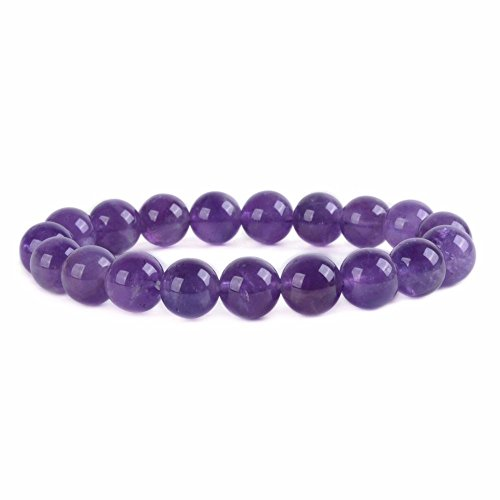 Natural Amethyst Gemstone 10mm Round Beads Stretch Bracelet 6.5