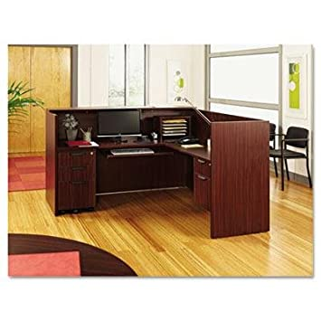 Alera – Valencia Series Reception Desk W Counter 71W X 35-1 2D X 42-1 2H Mahogany Product Category Office Furniture Desks
