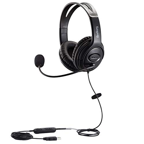 🥇 USB Headset with Noise Cancelling Microphone and Volume Control for Call Center PC Chat Skype Dragon Nuance Voice Recognition Speech Dictation