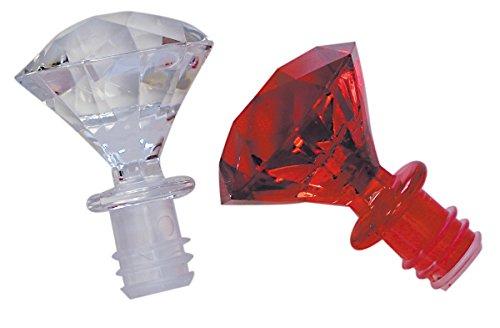 - Wine Bottle Stopper - Diamond Shape - Set of 2 - One Clear, One Red