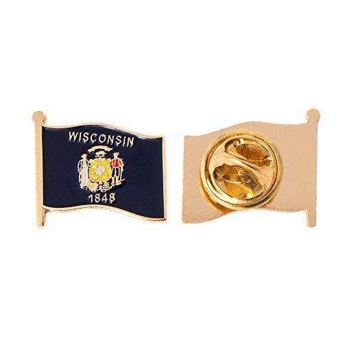 Wisconsin WI State Flag Lapel Pin Enamel Made of Metal Souvenir Hat Men Women Patriotic (Waving Flag Lapel Pin)