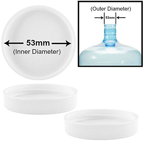Screw-On Caps for 3 and 5 Gallon Water Bottle Jugs (53mm, White)
