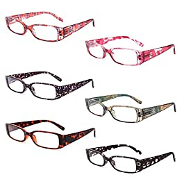 Reading Glasses 6 Pack Ladies Quality Fashion Rectangular frame with Comfort Spring Hinge Reader Eyeglasses for Women 3…