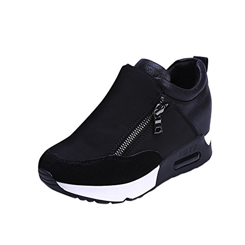 (Red Ta Women Fashion Sports Running Thick Hidden Bottom Platform Shoes Zipper)