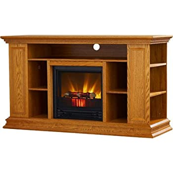 Amazon Com Portland 50 Quot Tv Stand With Electric Fireplace Light Oak