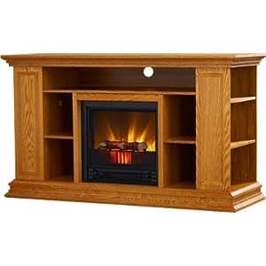 portland 50 tv stand with electric fireplace light oak home kitchen. Black Bedroom Furniture Sets. Home Design Ideas