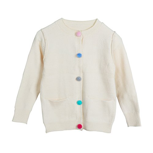 [YJ.GWL Little Girls Button Front Knit Uniform Cardigan Sweater(Beige,150)] (Cute Uniform Outfits)
