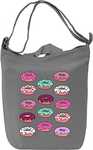 Colourful Donuts Borsa Giornaliera Canvas Canvas Day Bag| 100% Premium Cotton Canvas| DTG Printing|