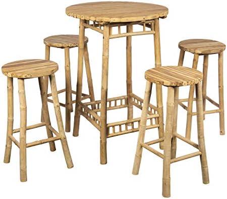 Brin d\'Ombre Table Mange Debout H 110 Cm avec 4 tabourets H 70 Cm
