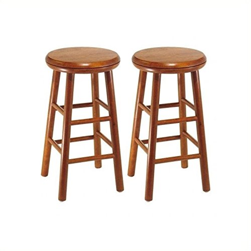 Winsome Wood Assembled 24-Inch Cherry Finish Swivel Stools, Set of 2 - Winsome Cherry Bar Stool
