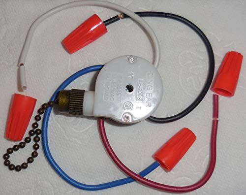 Zing Ear 3 speed pull chain switch model ZE-208S white and black with wires and Antique Brass by Zing Ear