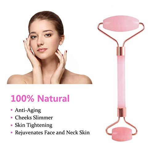 Jade Roller Rose Quartz Roller For Face Anti Aging | Natural Real Rose Quartz Facial Jade Roller | Special Gift Offer Of (1 Real Pink Jade Roller Bottle For Essential Oil+ 1 Bottle Opener) (Rose Gold)
