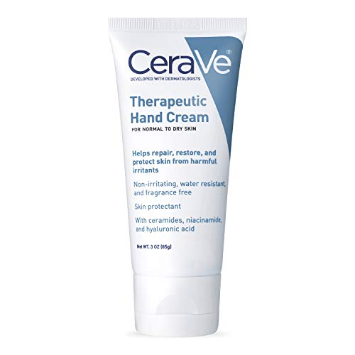 CeraVe Therapeutic Hand Cream for Dry Cracked Hands | 3 Ounce | With Hyaluronic Acid and Niacinamide | Fragrance Free