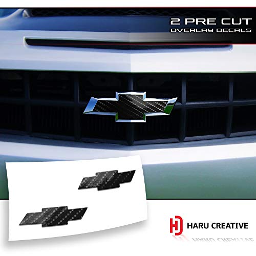 (Haru Creative - Front Hood Grille Tailgate Bumper Trunk Bowtie Emblem Overlay Vinyl Decal Sticker Compatible Fits Chevy Chevrolet Camaro 2010-2013 - 6D High Gloss Carbon Fiber Black)