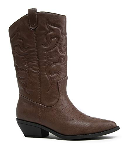J. Adams Lasso Knee High - Western Cowboy Embroidered Pointed Toe Pull On Boot Dark Tan ()
