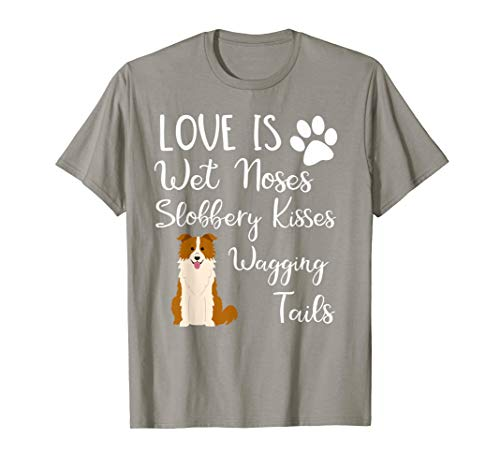 Red Border Collie Shirt Brown Dog - Dog Mom T-Shirts