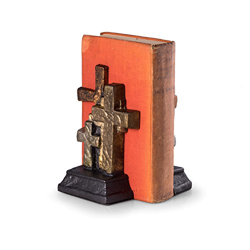 Paloma Collection AJ-R10Z Cast Metal Cross Bookends with d Finish, Bronze