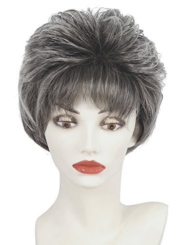 Wigs For Older Women (Short Straight Pixie cut layered wig Silver Gray Fluffy hairstyle with bangs Synthetic hair for older ladies)