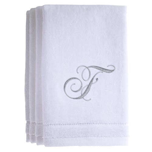 Monogrammed Towels Fingertip, Personalized Gift, 11 x 18 Inches - Set of 4- Silver Embroidered Towel - Extra Absorbent 100% Cotton- Soft Velour Finish - For Bathroom/ Kitchen/ Spa- Initial - Towel Bar Hinge Double