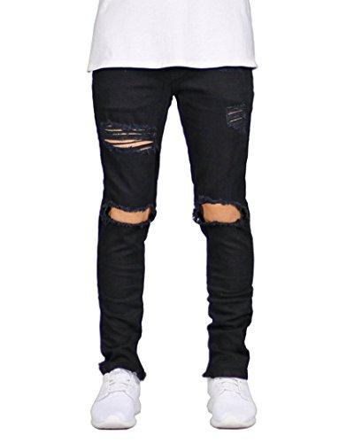 DEITP Men's Black Distressed Destroyed Ripped Slim Fit Skinny Stretch Denim Jeans W34 by DEITP