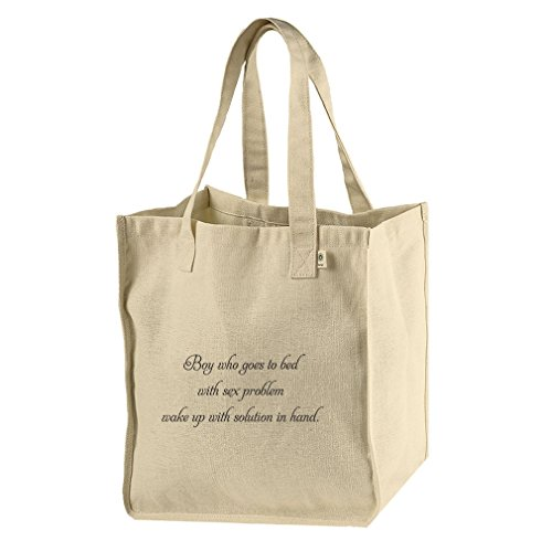 Hemp Canvas Tote Sleeps W/ Sex Problem Wakes W/ Solution In Hand Style In Print by Style in Print