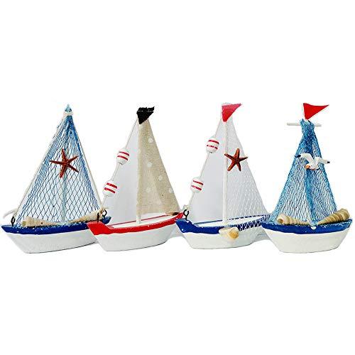 (Waroom Home Decorative Wooden Sailboat Model 4 Pack, Handmade Vintage Nautical Decor Sailing Boat Decoration, Wooden Display Sailboat, 5.75''H (4 Pack Small Sail Boat))