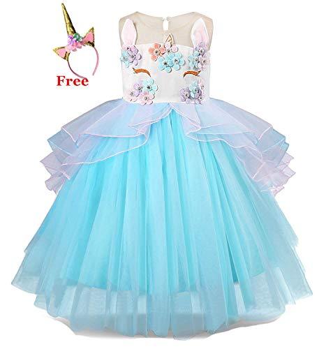 Kokowaii Fancy Girls Dress up for Unicorn Party Flower Dress
