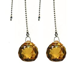Magnificent crystal 30mm Light Amber Crystal Ball Prism 2 Pieces Dazzling Crystal Ceiling FAN Pull Chain