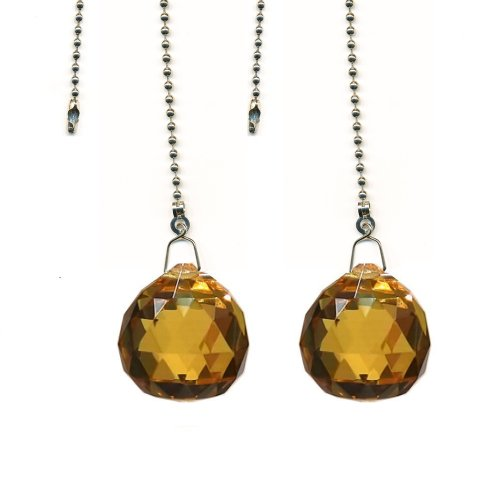 Amber Prisms (Magnificent crystal 30mm Light Amber Crystal Ball Prism 2 Pieces Dazzling Crystal Ceiling FAN Pull)