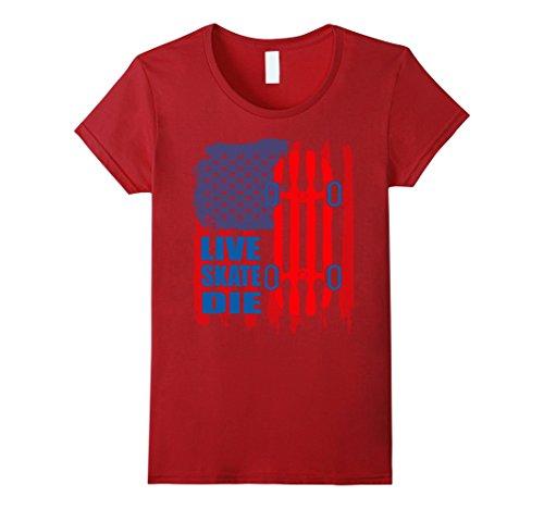 Womens Flag Skateboard Tshirt Large Cranberry